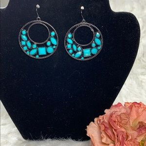 Gun Metal Turquoise bead earrings